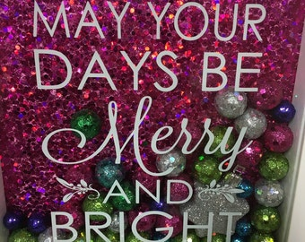 Christmas Shadow Box  may your days be merry and bright PINK background