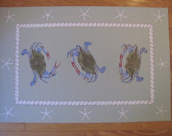 Hand painted Blue Crab Floor Cloth, blue crab gifts, gifts for him or her, coastal gifts, custom floor cloths