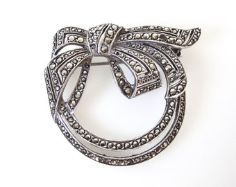 Vintage Marcasite Sterling Silver Bow Brooch