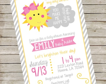 You Are My Sunshine Invitation PIY file ~ Sunshine Printable ~ Sunshine Baby Shower Invitation
