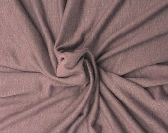 """Mauve Linen Blend JERSEY Knit Fabric By Yard Pre Washed 61""""W 5/16"""