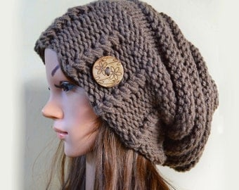 Slouchy beanie hat with button - TAUPE (or chose color) - Oversized - chunky - handmade - vegan friendly -baggy - Under 50