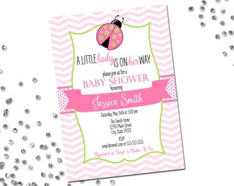 Little Lady Ladybug Baby Shower Invitation - Ladybug Baby Shower - Little Lady on Her Way - Chevron Stripes - Pink and Green - Printable
