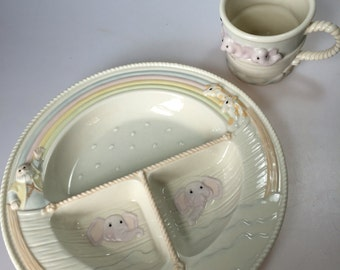 Divided Plate and Cup in Noahs Ark by Lenox