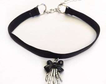 Black Bow Skeleton Hand Choker