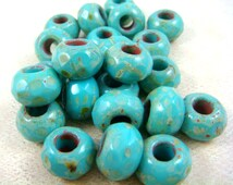 Czech Beads, Large Hole Picasso Beads, Czech Glass Roller Beads - Turquoise Large Hole Faceted Rondelle (ROL/N-0048) - 8x12mm - Qty. 4