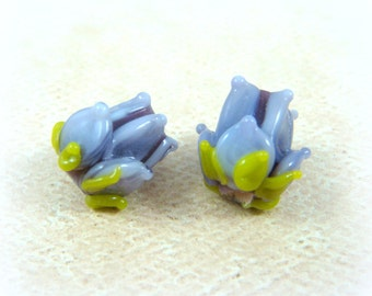 Lampwork Flower Beads - Purple Glass Flower Bead - Lavender and Lilac Flower Beads - approx. 13mm - Set of 2