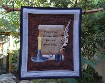 """Fabric Art Wall Hanging - """"Every Story Has An End"""" - (If you live outside the USA, please contact us for shipping fees.)"""
