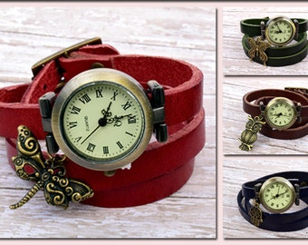 Watch For Woman, Leather Watch, Wrist Watch, Woman Leather Wrap Watch With Bronze Charm, Wrap Watch, Vintage Watch, Woman Gift Ideas