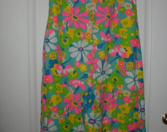 1960s multicolor   palazzo jumpsuit romper   piece fower floral mod jumpsuit smalls -larges see measure could be belted