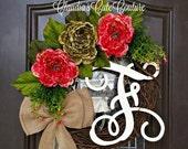 Spring Wreath,Summer Wreath,Hydrangea  Wreath for Door,Mother's Day Monogram Wreath,Rustic Wreath,Burlap Wreath, Home and Living,Grapevine