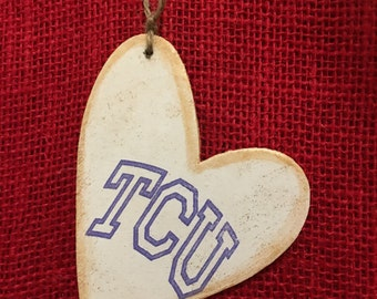 TCU -3 by 3 light weight wood tag, gift for anyone! Great by itself or a addition to a gift. Personalization. Memory Maker and a keepsake.