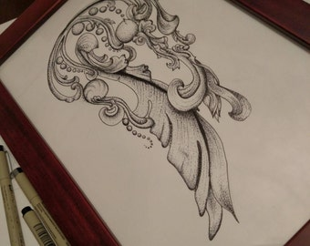 Pen and Ink Framed Drawing: The Jellygree Fish