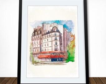 Paris Poster, Paris Print, Paris Art,  Watercolor Art, Cafe Poster, Kitchen Art, Kitchen Wall Decor, Housewarming Gift, Gift for Traveller