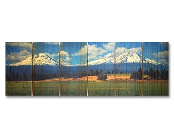 32x11 Three Sisters, Mountains in Central Oregon, Outdoor Safe Wall Decor (TS3211)