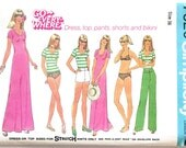 Vintage 1970s Women's Bikini Swimsuit, Tank Top, Maxi Dress, Pants, and Shorts Sewing Pattern Size 16 Bust 38 Simplicity 7526