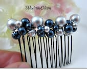 Bridal Hair Comb, Wedding Hair Accessories, Navy Blue Grey Blend Pearl Mix, Bridesmaid hair comb, hair comb, Mother of the bride gift