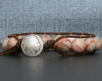 single wrap bracelet- red line marble on chocolate brown leather - boho mens jewelry - womens jewelry - indian head button