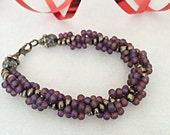 Czech Glass Bracelet in Purple Czech Glass Beads Hand Woven Jewelry Glass Jewelry