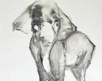 Elephant Artwork Giclee Print of Original Ink Elephant Painting, ready to frame, Ready to Frame Gift Natural Elephant No. 1 6x6