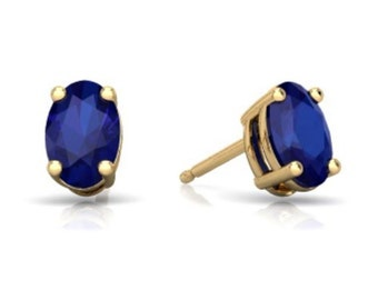 14Kt Yellow Gold Blue Sapphire Oval Stud Earrings