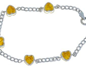 Citrine Heart Bezel Bracelet .925 Sterling Silver