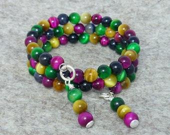 Coloured Tigers Eye Memory Wire Bracelet