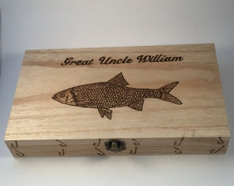 Fishing tackle box float case personalised