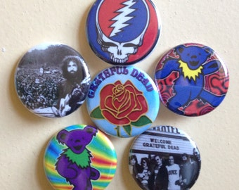 "Grateful Dead pin back buttons 1.25"" set of 6"