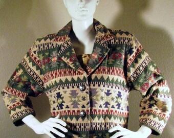 "Katch Me ""West"" with Aztec Geometric Print Tapestry Jacket Size S"