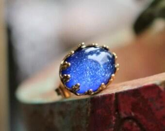 12pcs of resin sparkle dome 10x14mm RC10208-lapis blue