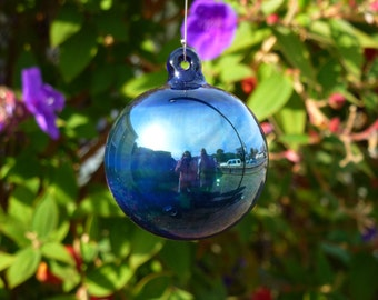 Handblown Cobalt Blue Ornament with Silver Fume