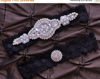 Wedding Garter, Bridal Garter Set - Black Lace Garter, Keepsake Garter, Toss Garter, Crystal Embellishment, Black Wedding Garter, Ap