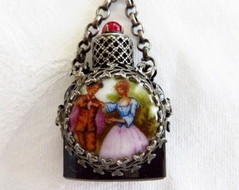 Vintage Perfume Bottle Brooch Pin Made in France French Lovers Portrait Cameo Front