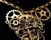 Steam punk Octopus and gears metal necklace