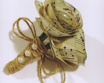 LARGE Music Paper Rose Wedding Boutonnieres