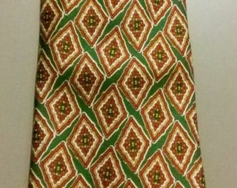 Original 70's VALENTINO Vintage silk tie. Multicolor Geometric patterns Green, Red, Yellow and White. Made in Italy
