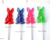 Easter Bunny, Bunny Birthday Party, Bunny Baby Shower, Bunny Gifts, Easter Candy, 6 Barley Sugar Hard Candy Lollipops, ASSORTED COLORS