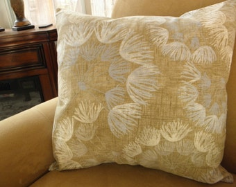 Floral,Blue,Tan,Ivory,Brown Linen Pillow Cover 16x20