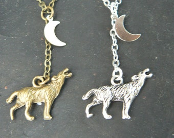 best friends necklace SET of TWO Wolf necklaces MOM and daughter howling at the moon necklaces Tribal necklaces hipster boho hippie gothic