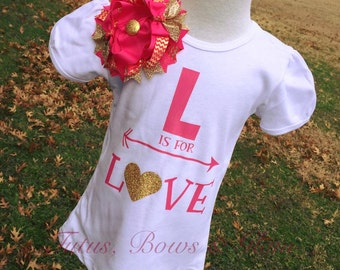 L is for LOVE shirt & bow set