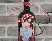 Hand Painted Light Up Santa Wine Bottle Lamp...Santa Wine Bottle...Santa Lamp...Christmas Decor..Wine Bottle Light...Christmas Wine Bottle