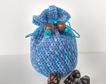 Dice Bag, Blue Crochet Bag, Drawstring bag, Jewellery Pouch, Storage Pouch, Bag of Holding, Large Dice Bag, Hand Crochet Bag, Scruffy Ducks