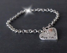 Personalised Silver Bracelet with Heart, Valentines Bracelet, Mother Daughter Bracelet, Silver Bracelet with Initials, 7th Anniversary Gift