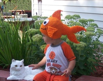 Goldfish Hat - Fish Hat - Photo Prop - Baby Hat - Toddler Hat - Hat for Kids - Crochet Hats - Animal Hat