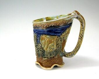Yosemite Buddha Dragonfly Mug, Carved Stoneware, Hand-built Mug (#9)