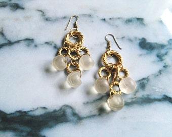 1980s Gold Beaded Earrings