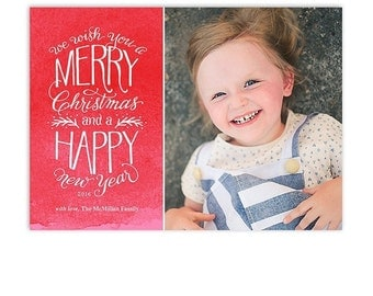 ON SALE Christmas Card Template - Hand Drawn Type - 5x7 Flat Card - Wishes - 1346