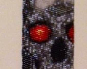 Beaded Skull and Flames Bracelet - 7-1/2 inches