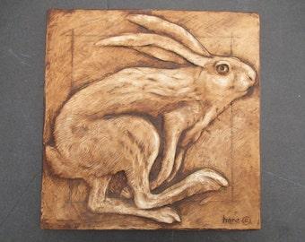 Running Hare Relief Sculpture Rabbit Art